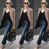 Leopard Jacket Women Sweater Top Warm Casual Winter Cardigan Long Sleeve Coat US