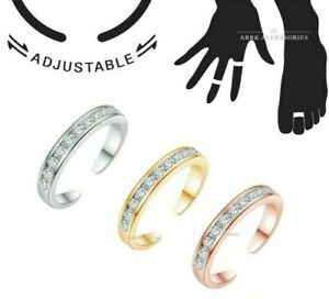 Toe Ring Clear Gem CZ Adjustable Midi Finger Knuckle Thumb Stacking Ring Band