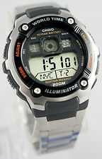 Casio Men's 200M WR 5 Alarms World Time 10 Year Battery Watch AE-2000WD-1AV New