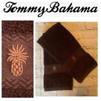 2pc Lot Tommy Bahama Designer Hand Towel Set Brown Pineapple Guest Bathroom