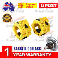 1Pair Yellow 5cm Barbells Collars Lock Jaw Weight Olympic Muscle Clamp Bar Lock