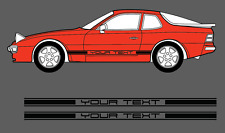 Porsche 924, 944, 928. Custom Text Side stripe Decal Set. Various Colours