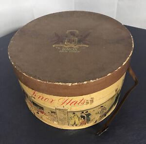 "Knox Hat Box Antique Lithograph Victorian  Scene 15x13"" no hat leather strap"