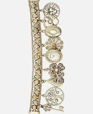 Anne Klein 10-8096GPCH Women's Pale Gold-Tone Charm Bracelet Watch 18 x 22mm