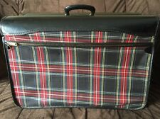 vintage Black Red Tartan Plaid Garment bag Suitcase clean Travel Wise
