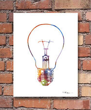 Light Bulb Abstract Watercolor Painting Art Print by Artist DJ Rogers