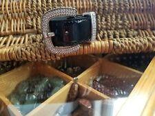 Belt Buckle Bracelet Silver Tone Rhinestone Adjustable Black Patent Leather