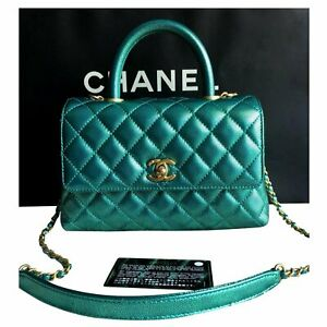 RARE Chanel Coco Handle Bag Green Limited Edition  Authentic