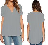 Chiffon Blouse Grey Womens V Neck Short Sleeve Oversize  Size 6 8 10 12 14 16 18