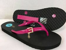 NEW! MICHAEL KORS  Hot Pink/ Black Jelly MK Charm Flip Flop Sandals Sz: 6