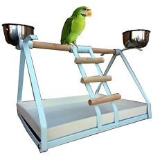 Small Parrot Bird Metal Playstand Play Gym W/Stainless Steel Cups Wte - 132