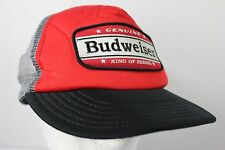 Budweiser Beer Trucker Hat Red Black Gray Mesh Snap Back Embroidered Patch Logo