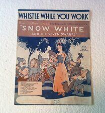 Disney Vintage 1937 WHISTLE WHILE YOU WORK Snow White & the 7 Dwarfs Sheet Music