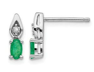 Natural Green Emerald Earrings 1/3 Carat (ctw) in 14K White Gold