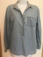 Loft Ann Taylor Women's Chambray The Softened Shirt Popover Top Size Small NWOT