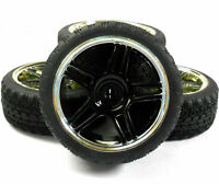 A250090v2 1/10 On Road Soft Tread Car RC Wheel and Tyre Twin 5 Spoke Black x 4