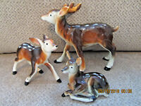Vintage Japan deer family 3 piece hand painted porcelain rare collectilbe 6""
