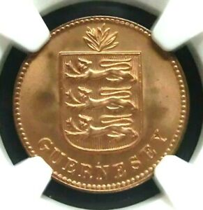 NGC MS67RD-Guernsey 1933H National Arms One Double Super GEMBU Pop RARE