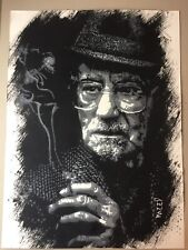 MEEP. Old Man Smoking. Large Hand Painted Stencil Artwork. Banksy, Stik, Obey