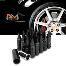 M12X1.5 Black JDM Cone Wheel Lug Nuts+Spline Lock+Spiked Cap+Key 25mmx75mm 20Pc