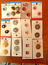 VINTAGE LOT OF PATRIOTIC BUTTONS ON ORIGINAL STORE CARDS, CIRCA1970'S