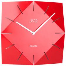 JVD HB21.1 Wanduhr Quarz analog Metall rot viereckig modern