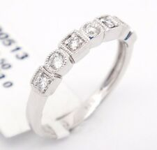 Abstract 14k White Gold SI1-Si2 G-H 0.23ct Diamonds 2.25mm Engagement Ring,6.5