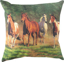 NEW Galloping Horses Pinto Paint Chestnut Paloming Throw Pillow Made in the USA