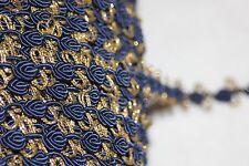"$1 yard Navy Blue Rosebud Metallic Gold Chain Gimp Sewing Craft Trim 3/4"" wide"
