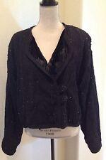 MAX & MABEL Vegan Fur Lined Black Cardigan Sweater Jacket Beads Woman's Plus 2x