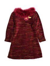 Girl Boutique Cach Cach Fall Winter Striped Faux Fur Trim Dress Size 6 LN