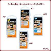 Lots piles/Cells boutons auditives Duracell, appareils auditifs 10/13/312/675