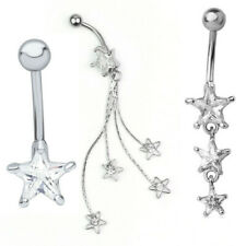 Clear Surgical Steel Navel Belly Button Bar Ring 10mm Star Jewelry