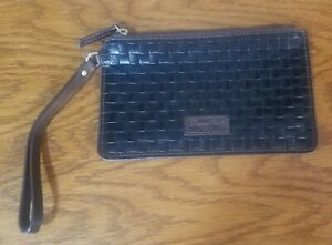 DOONEY & BOURKE LILLIANA BLACK WOVEN LEATHER EMBOSSED WRISTLET CLUTCH POUCH