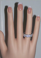 size 7 PAVE CRYSTAL WHITE 2-ROW BAND TITANIUM STEEL FASHION RING - NEW