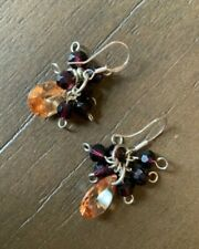 Sterling Crystal Dangle Earrings New Peach/Garnet