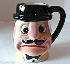 Vintage Comical Mustached Face Derby Hat Ceramic Mug Stein Tankard Made In Japan