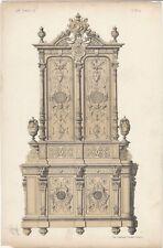 1866 Design Lithograph of Renaissance Cupboard by Michel Joseph Napoleon Lienard