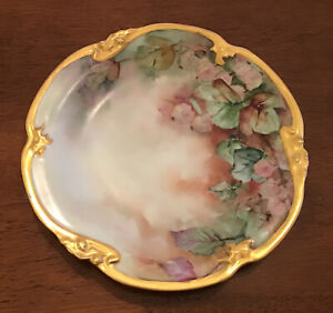 Vintage D & C France Limoges Hand Painted Plate With Gilt