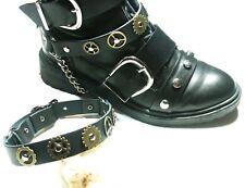 Pair Steampunk Boot Strap-Black-Brass-Biker-Rock-Gothic-Chain-buckle Accessory