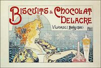 Belgian Biscuits and Chocolates Delacre 1896 Vintage Poster Print Art Nouveau