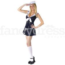 Ladies Sexy Sailor Fancy Dress Costume Naval Navy Anchors Away Uniform NEW