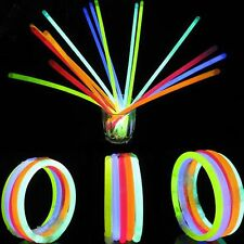 "100 x 8"" Glow Sticks Bracelets Necklaces Party Favors Neon Color 100 Connectors"