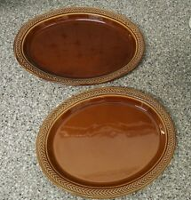 """Lot of 2 Hall Pottery Brown Platters 11-1/2"""" x 9-1/2"""" & 12-3/4"""" x 10"""""""