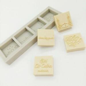 Eid Mubarak Letter Silicone Mold Fondant Mousse Cake Chocolate Decorating Mould