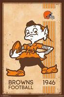 CLEVELAND BROWNS - RETRO LOGO POSTER - 22x34 NFL FOOTBALL VINTAGE 13170