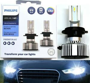 Philips Ultinon LED G2 6500K White H7 Two Bulbs Light Turn Cornering Upgrade OE