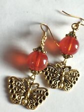 Butterfly Charm Earrings With Rust Red Jade Style Bead