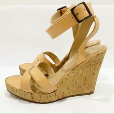 Enrico Antinori platform cork wedge ankle Nude Beige Patent Leather strap Sz 37