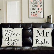 Amore Set of 2 Cushions Pillows Mr Right & Mrs Always Right Wedding, Anniversary